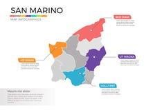 Van de kaartinfographics van San Marino het vectormalplaatje met gebieden en wijzertekens vector illustratie