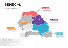 Van de kaartinfographics van Senegal het vectormalplaatje met gebieden en wijzertekens royalty-vrije illustratie