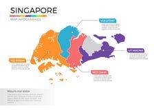 Van de kaartinfographics van Singapore het vectormalplaatje met gebieden en wijzertekens royalty-vrije illustratie