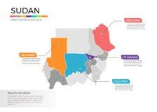 Van de kaartinfographics van de Soedan het vectormalplaatje met gebieden en wijzertekens stock illustratie