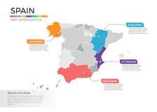 Van de kaartinfographics van Spanje het vectormalplaatje met gebieden en wijzertekens royalty-vrije illustratie