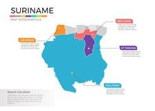 Van de kaartinfographics van Suriname het vectormalplaatje met gebieden en wijzertekens royalty-vrije illustratie