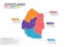 Van de kaartinfographics van Swasiland het vectormalplaatje met gebieden en wijzertekens royalty-vrije illustratie