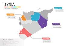 Van de kaartinfographics van Syrië het vectormalplaatje met gebieden en wijzertekens royalty-vrije illustratie