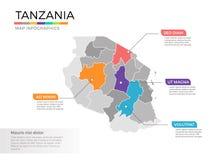 Van de kaartinfographics van Tanzania het vectormalplaatje met gebieden en wijzertekens vector illustratie