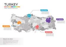 Van de kaartinfographics van Turkije het vectormalplaatje met gebieden en wijzertekens vector illustratie