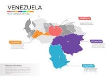 Van de kaartinfographics van Venezuela het vectormalplaatje met gebieden en wijzertekens royalty-vrije illustratie