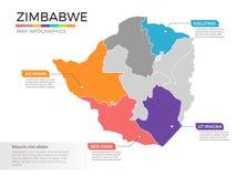 Van de kaartinfographics van Zimbabwe het vectormalplaatje met gebieden en wijzertekens royalty-vrije illustratie