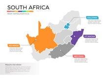 Van de kaartinfographics van Zuid-Afrika het vectormalplaatje met gebieden en wijzertekens vector illustratie