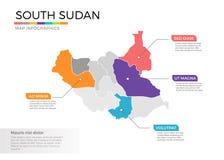 Van de kaartinfographics van Zuid-Soedan het vectormalplaatje met gebieden en wijzertekens vector illustratie