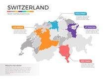 Van de kaartinfographics van Zwitserland het vectormalplaatje met gebieden en wijzertekens stock illustratie