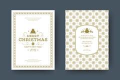 Van de de kaartontwerpsjabloon van de Kerstmisgroet de vectorillustratie stock foto's