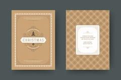 Van de de kaartontwerpsjabloon van de Kerstmisgroet de vectorillustratie stock afbeelding
