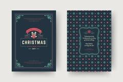 Van de de kaartontwerpsjabloon van de Kerstmisgroet de vectorillustratie royalty-vrije stock afbeeldingen