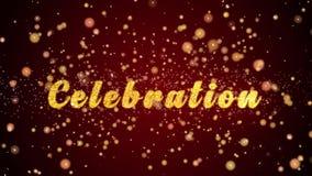 Van de de kaarttekst van de vieringsgroet de glanzende deeltjes voor viering, festival royalty-vrije illustratie