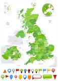 Van de de Kaartvlek van Groot-Brittannië de Groene Kleuren en glanzende pictogrammen royalty-vrije illustratie