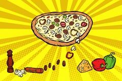 Van de de kaasworst van pizzaingrediënten de peperpaddestoelen vector illustratie