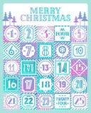 Van de kalender voor het drukken geschikte markeringen van de Kerstmisaftelprocedure de kleurenstijl met verschillende achtergron Royalty-vrije Stock Foto's