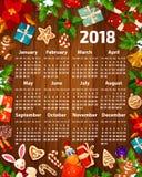 van de kalenderkerstmis van 2018 het Nieuwjaar vectorontwerp Royalty-vrije Stock Foto