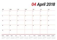 Van de de kalenderontwerper van april 2018 de vectorillustratie Royalty-vrije Stock Afbeelding