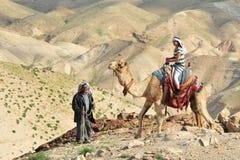 Van de kameelrit en Woestijn Activiteiten in de Judean-Woestijn Israël Royalty-vrije Stock Foto's