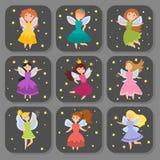 Van de karakterskaarten van de feeprinses aanbiddelijke van de de verbeeldingsschoonheid de engelenmeisjes met vleugels vectorill stock illustratie