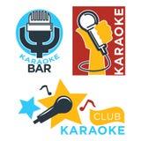 Van de karaokeclub en bar vectoretiketten of logotype de reeks van de ontwerpinzameling Royalty-vrije Stock Foto