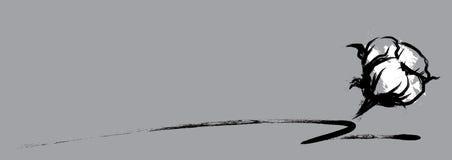 Van de katoenen stijl bloem handdrawn borstel stock illustratie