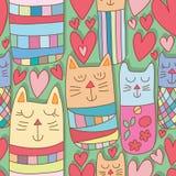 Van de de kattenliefde van liefdekokeshi groen het land naadloos patroon vector illustratie