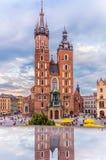 Van de kerk-Wereld Krakau-Polen-Mariacki de klok de Jeugddag 2016 Royalty-vrije Stock Foto's
