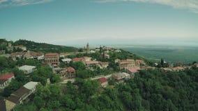 Van de de kerkkaukasus van het Signagikasteel van de de bergenrivier van de de schoonheidsaard Kaukasische de dieren waterwall ho stock video