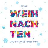 Van de Kerstmis Duitse groet van Froheweihnachten Vrolijke het document van de de kaart vectorsneeuwvlok snijdende achtergrond Stock Afbeeldingen