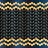 Van de Kerstmis het blauwe gouden kaart van de chevronlijn naadloze patroon Royalty-vrije Stock Afbeeldingen
