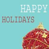 Van de Kerstmisbal en tekst gelukkige vakantie, in een pop-artstijl Royalty-vrije Stock Foto