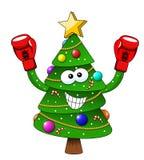 Van de Kerstmisboom van beeldverhaalkerstmis geïsoleerde de bokser bokshandschoenen royalty-vrije illustratie