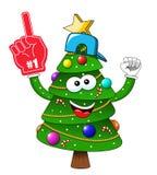 Van de Kerstmisboom van beeldverhaalkerstmis triomfantelijk nummer één geïsoleerde de ventilator van de handschoenverdediger stock illustratie