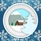 Van de Kerstmiscirkel van de de wintersneeuwvlok het Vectorbeeld van Photoframe Royalty-vrije Stock Afbeeldingen