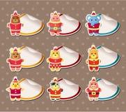 Van de Kerstmisfeestneus van het beeldverhaal het Etiket van de Stickers Stock Foto's