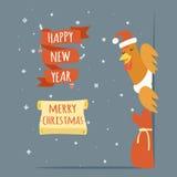 Van de Kerstmisgroet van Santa Claus Cock Happy New Year de Vrolijke van het de Kaartmalplaatje van het het Beeldverhaalontwerp V Stock Foto