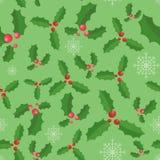 Van de Kerstmishulst en sneeuw achtergrond van het vlokken de naadloze patroon stock illustratie