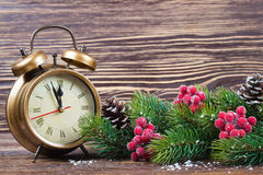 Van de Kerstmisklok en spar takken Royalty-vrije Stock Fotografie