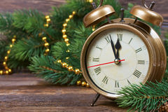 Van de Kerstmisklok en spar takken Royalty-vrije Stock Foto