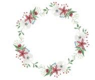 Van de Kerstmiskroon van de waterverfbloem Geschilderd de Vakantieboeket van Garland Festive Arrangement Jolly Floral Hand Stock Afbeeldingen