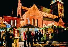 Van de Kerstmismarkt van de mensennacht van de Koepel Vierkante Kerstmis de boomtribunes Riga stock foto