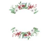Van de Kerstmisregeling van de waterverfbloem Boeket van Jolly Floral Hand Painted Holidays het Feestelijke Royalty-vrije Stock Fotografie