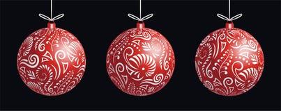 Van de Kerstmissnuisterij van Maorikoru rode de decoratiebal voor Kerstboombanner stock afbeeldingen