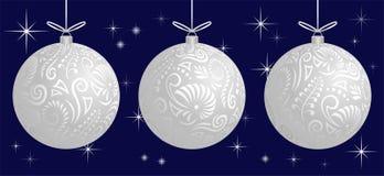 Van de Kerstmissnuisterij van Maorikoru witte berijpte de decoratiebal voor Kerstboombanner royalty-vrije stock foto's