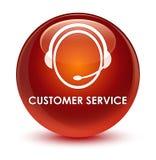Van de klantendienst (het pictogram van de klantenzorg) de glazige bruine ronde knoop Royalty-vrije Stock Foto's