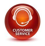 Van de klantendienst (het pictogram van de klantenzorg) de glazige bruine ronde knoop Stock Afbeeldingen