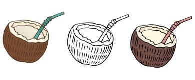 Van de de kleurenkoffie van beeldverhaalkokosnoten trekt de vastgestelde de aardhand voedselart. royalty-vrije illustratie